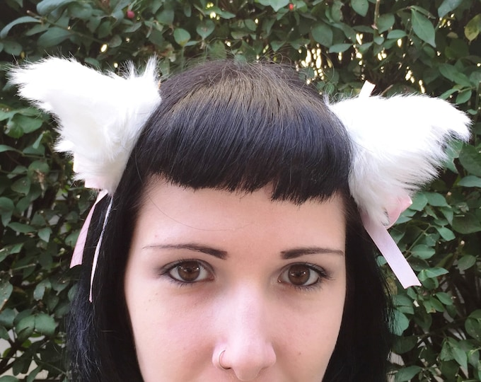 Clip on Cat Fox Ears with Bells and Ribbon Bows in White with White