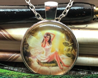 Fairy brushing hair on Daisy Bloom set in Silver Dome Glass Pendant with Chain Necklace