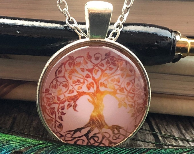 Tree of Life Pink Drawing set in Silver Dome Glass Pendant with Chain Necklace