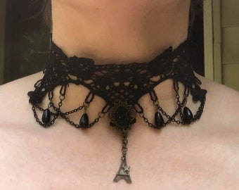 Black Lace Choker Necklace with Round Pendant Dangling Eiffel Tower, Chains & Beads
