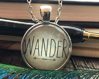 """Filigree """"WANDER"""" with Arrow set in Silver Dome Glass Pendant with Chain Necklace"""