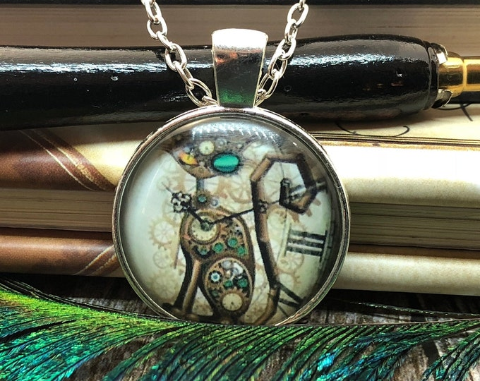 Steampunk Clockwork Cat Clock with Gears set in Silver Dome Glass Pendant with Chain Necklace