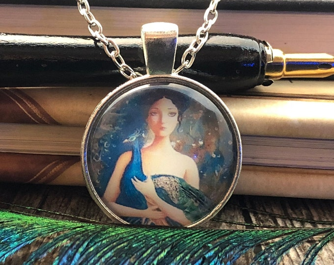 Lady Elegant holding Peacock set in Silver Dome Glass Pendant with Chain Necklace
