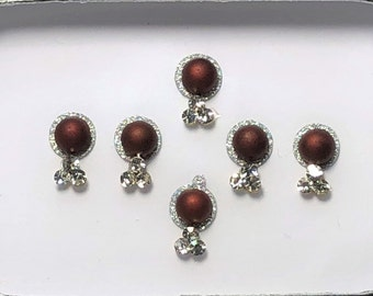 Bindi Body Stickers Dark Red and Clear Crystal Temporary Tattoo One (1) Pack As Pictured #57