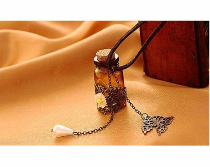 Message in a Bottle to Write Your Deepest Wish Adorned with Flowers, Beads & Butterfly Necklace