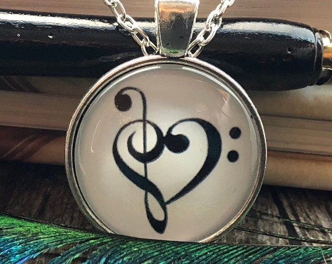 Heart Shaped Treble Music Note set in Silver Dome Glass Pendant with Chain Necklace