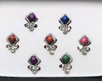 Bindi Body Stickers Multi-color Crystal Temporary Tattoo One (1) Pack As Pictured #62