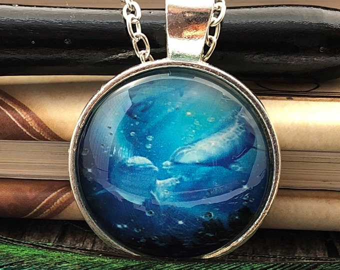 Dolphin with Baby Swimming in Ocean Silver Dome Glass Pendant with Chain Necklace