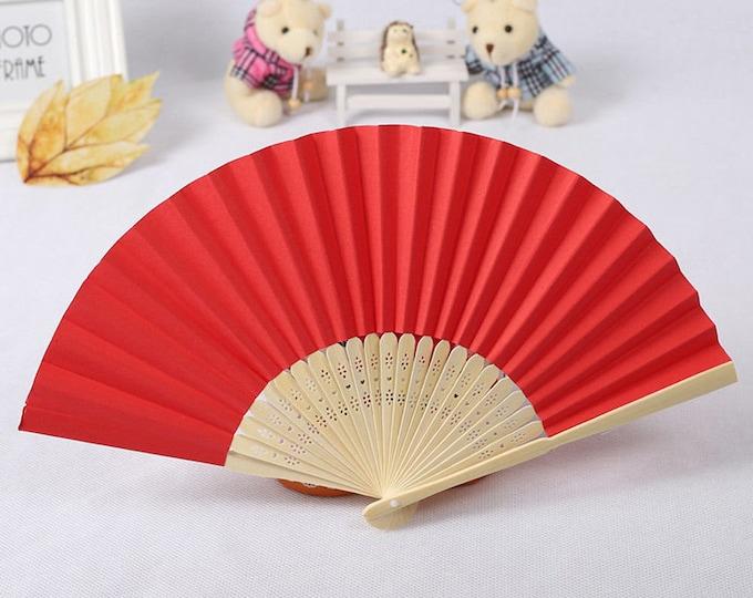 Red Silk Carved Sandalwood Folding Hand Fan