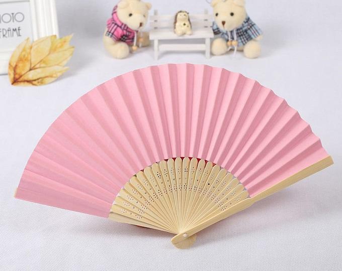 Pink Paper Carved Sandalwood Folding Hand Fan