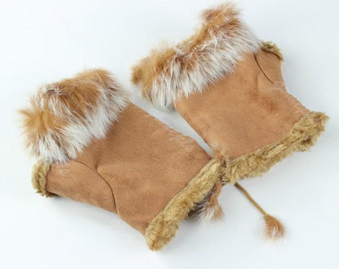 Leather Fingerless Fur Gloves in Khaki (Light Brown)