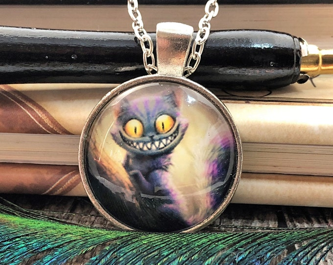 Alice in Wonderland Cheshire Cat Grin Purple Silver Dome Glass Pendant with Chain Necklace