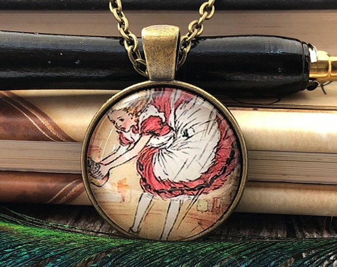 Alice in Wonderland Falling Down the Rabbit Hole Bronze Dome Glass Pendant with Chain Necklace