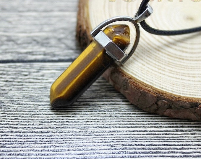Tiger Eye Brown Colored Quartz Crystal for Chakra Healing a Gemstone in Silver Pendant Necklace