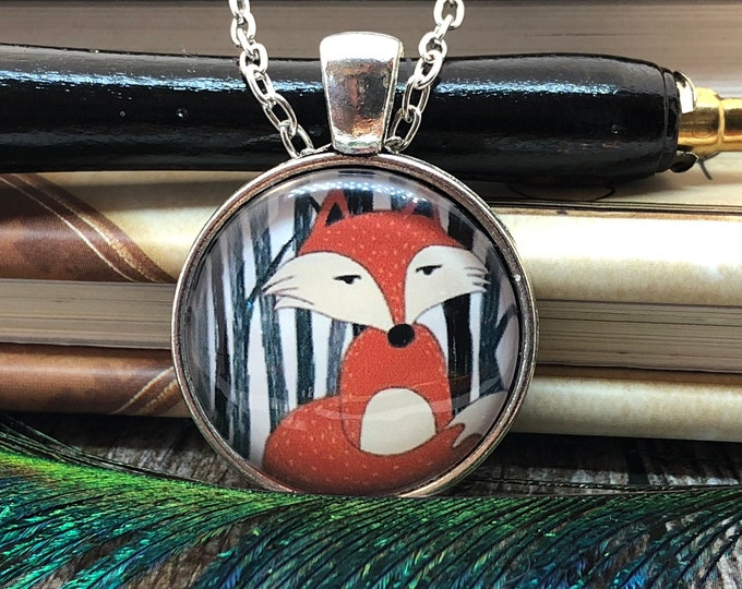 Cute Cunning Red Fox in the Woods Silver Dome Glass Pendant with Chain Necklace