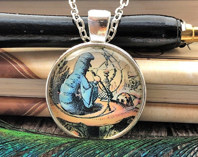 Alice in Wonderland Caterpillar on Mushroom Hookah Silver Dome Glass Pendant with Chain Necklace