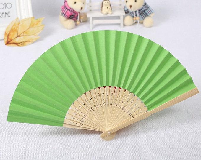 Green Silk Carved Sandalwood Folding Hand Fan