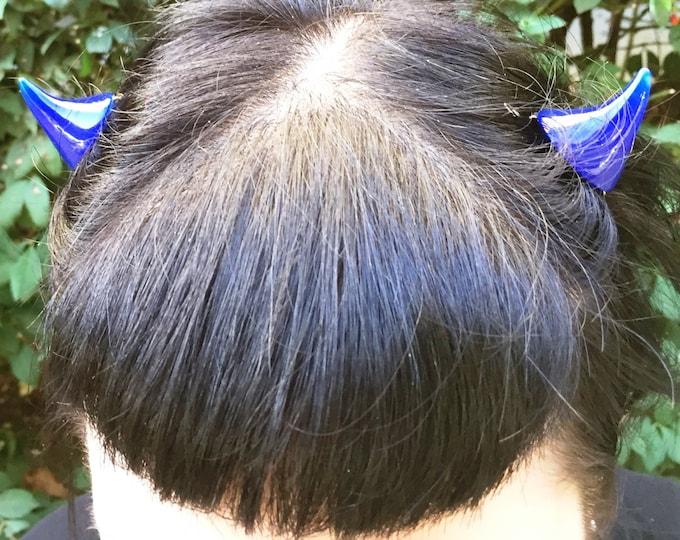 Horns Clip Teeth or Snap Style Barrette 1 pair in Dark Blue