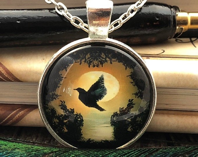 Dove Silhouette with Sunset over the Waters Silver Dome Glass Pendant with  Chain Necklace