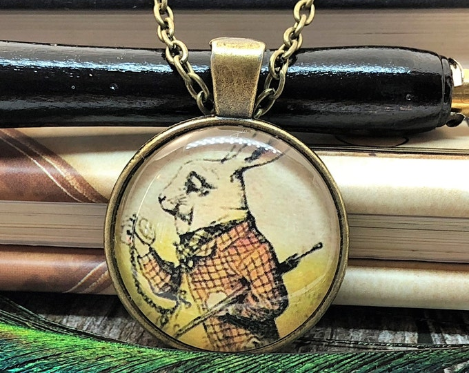 Alice in Wonderland White Rabbit Late for an Important Date Clock Old Bronze Dome Glass Pendant with Chain Necklace