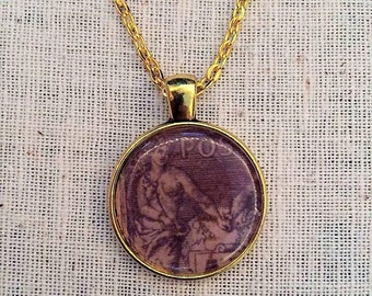 Vintage Stamp Cap Pendant One of a Kind  Necklace