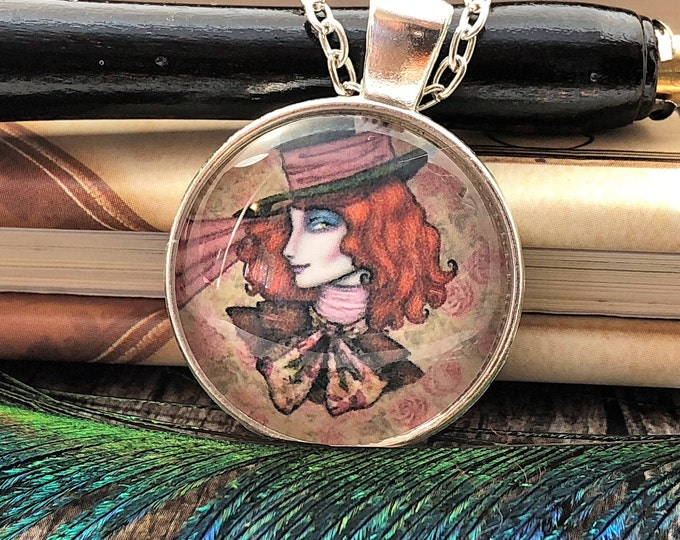 Alice in Wonderland Beautiful Mad Hatter Silver Dome Glass Pendant with Chain Necklace