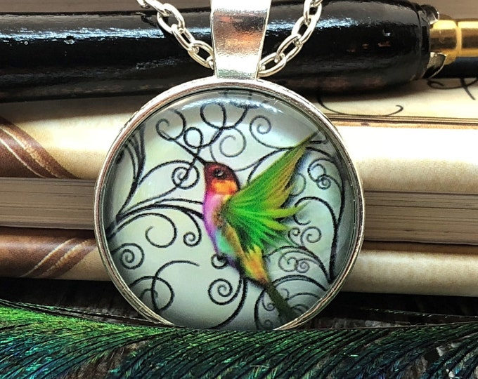 Hummingbird Flying over Filigree Silver Dome Glass Pendant with Chain Necklace