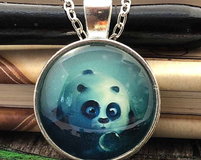 Cute Laying Panda Bear with Soap Bubble Silver Dome Glass Pendant with Chain Necklace
