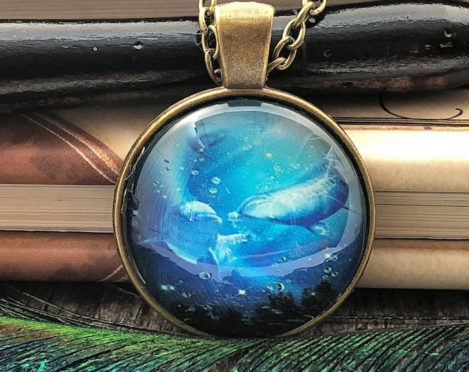 Dolphin with Baby Kiss Swimming in Ocean Bronze Dome Glass Pendant with Chain Necklace