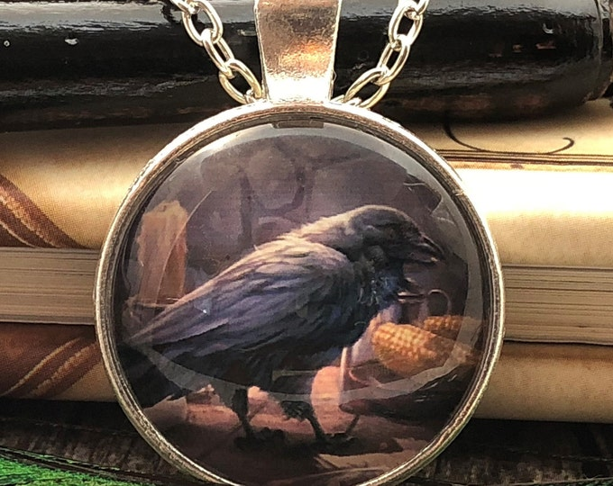 Crow Raven Black Bird with Candle & Corn set in Silver Dome Glass Pendant with Chain Necklace