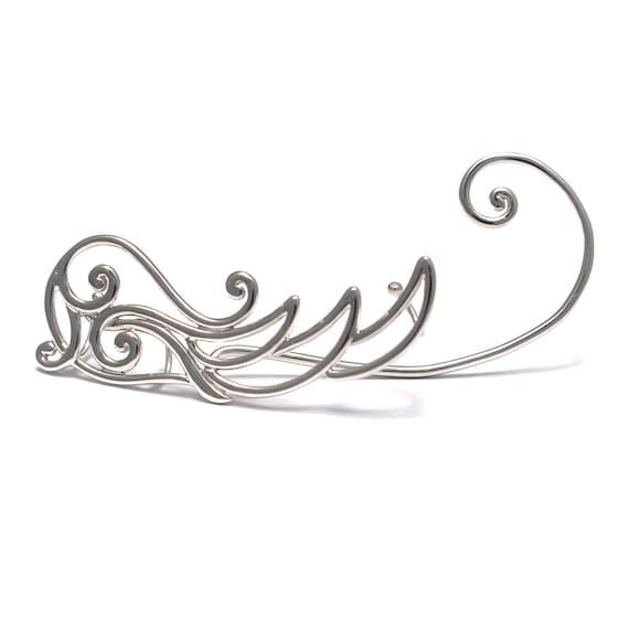 Blumen Pfanzen Ear Crawler 925 Sterling Silber, Ear climber Ohrringe, Fantasy Ear cuffs, Silber Elfen Ohrringe, Messe Bergsteiger Ohrringe