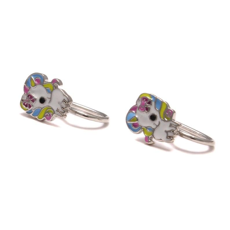 Ear Clip rainbow Unicorn girl Ear jewelry colorful Silver Ear clip nickel-free Children jewelry glitter Children/'s Jewelry 925 Sterling Silver