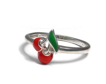 Children's Ring of 925 sterling silver with red cherries