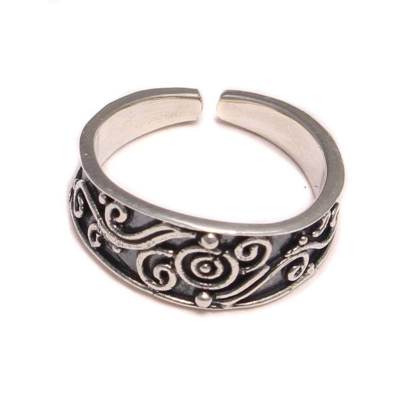 Patterned round open-toe ring in real 925 sterling silver image 0