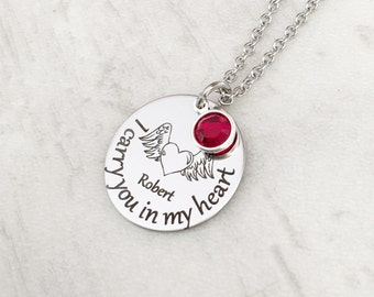 Loss of a Loved One Memorial Sympathy Necklace - Personalized Berevement Gift for Her - I carry you in my heart with name and birthstone