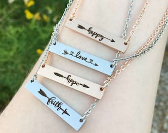 Positive Word Bar Necklace - Mother's Day Jewelry Gift for Mom - Happy, Love, Hope, Faith Arrow Bar Necklace - Gift for Girls