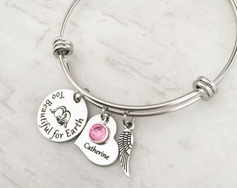"""Personalized Miscarriage Memorial Bracelet - Sympathy Gift for Her - Loss of a Baby Rememberance Gift - """"Too Beautiful for Earth"""""""