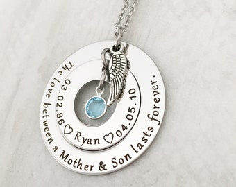 Mother Personalized Memorial Gift - Sympathy Gift Necklace - Loss of Son- Remembrance Jewelry- The Love between a Mother & Son lasts Forever