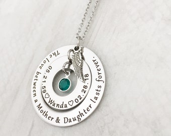 Personalized Memorial Gift - Loss of a Daughter Sympathy Jewelry Gift - The love between a Mother & Daughter lasts forever Necklace