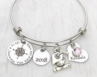 Compass Jewelry Bracelet - Inspirational Graduation Gift - For Her - 2018 High School Graduation Gift - Life is a JOURNEY. You hold the map
