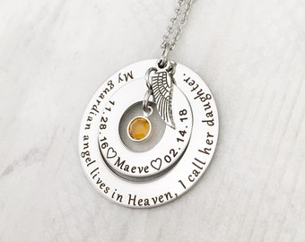 Personalzied Memorial Jewelry - Loss of a Daughter Necklace for Mom - Sympathy Gift - My guardian angel lives in Heaven, I call her Daughter
