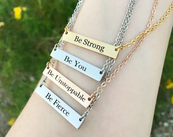 """Empowering and Inspirational """"Be"""" Bar Necklace - Mother's Day Jewelry Gift  for Her - Graduation Gift  - Choose Your Motivational Word"""