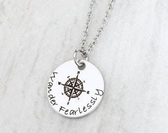 Wander Fearlessly Inspirational Graduation Gift for High School and College Graduates - Compass Jewelry Necklace - Class of 2018 Grad Gift