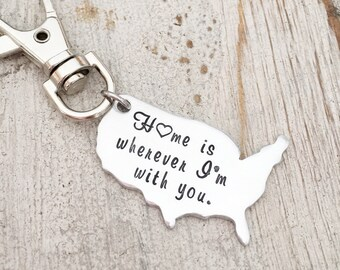 Going Away Gift Keychain - Home is wherever I'm With You - US State Map Keychain