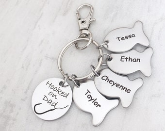 Father's Day Fishing Keychain - Personalized Father's Day Gift from Kids - Hooked on Daddy, Grandpa, Papa with Children Fishes