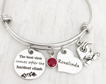 2018 Graduating Gift for Her - Personalized Graduation Gift for Her - Inspirational High School and College Bracelet Graduation Gift