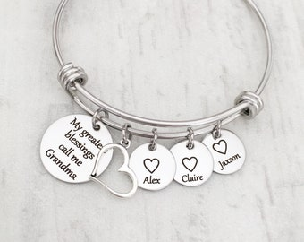 4dffd5613 Personalized Mom and Grandma Mother's Day Charm Bracelet - My Greatest  Blessings Call Me (Name) with Grandkids Heart Name Tag & Heart Charm