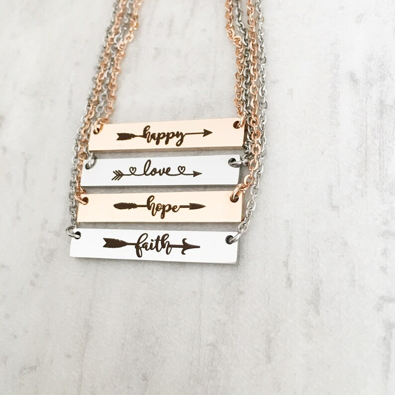 Silver Yellow Gold 16 18 20 Rose Gold Affirmation Bar Necklace Word of the Year Bar Necklace Happy Hope Love Faith
