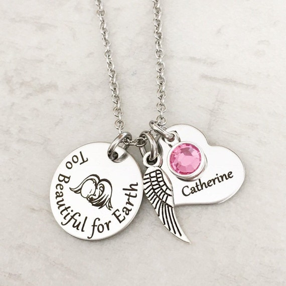 Wing Too Beautiful for Earth  Twin Pregnancy Loss Memorial Necklace for Mom Personalize with Heart Name Tag and Birthstone
