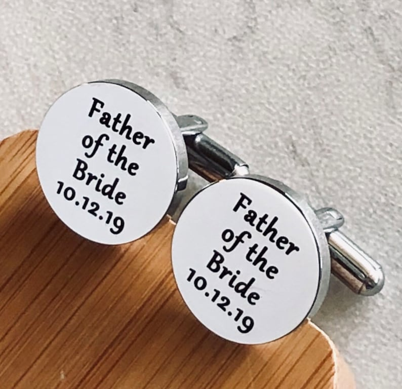 Engraved Wedding Date Gift for Dad Father of the Bride Personalized Silver Round Cufflinks for Dad